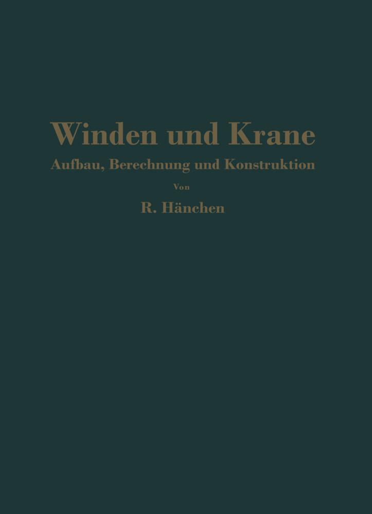 Winden und Krane als Buch von R. Hänchen