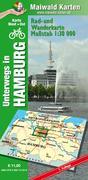 Hamburg Ost + West = unterwegs in Hamburg Rad- u. Wanderkarte - 2 Karten in einer Plastikhülle - mit vielen touristischen Informationen - Karte Ost + West