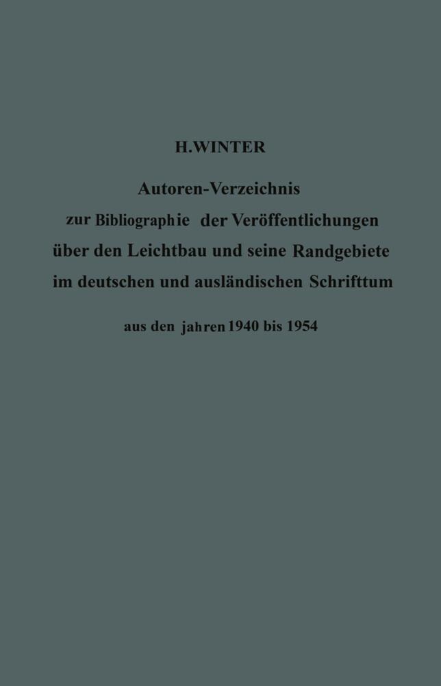 Autoren-Verzeichnis zur Bibliographie der Veröf...