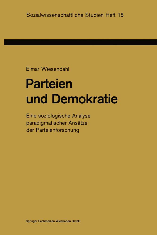 Parteien und Demokratie als Buch von Elmar Wies...
