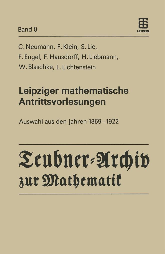 Leipziger mathematische Antrittsvorlesungen als...