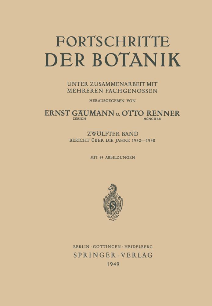 Fortschritte der Botanik als Buch von Ernst Gäu...