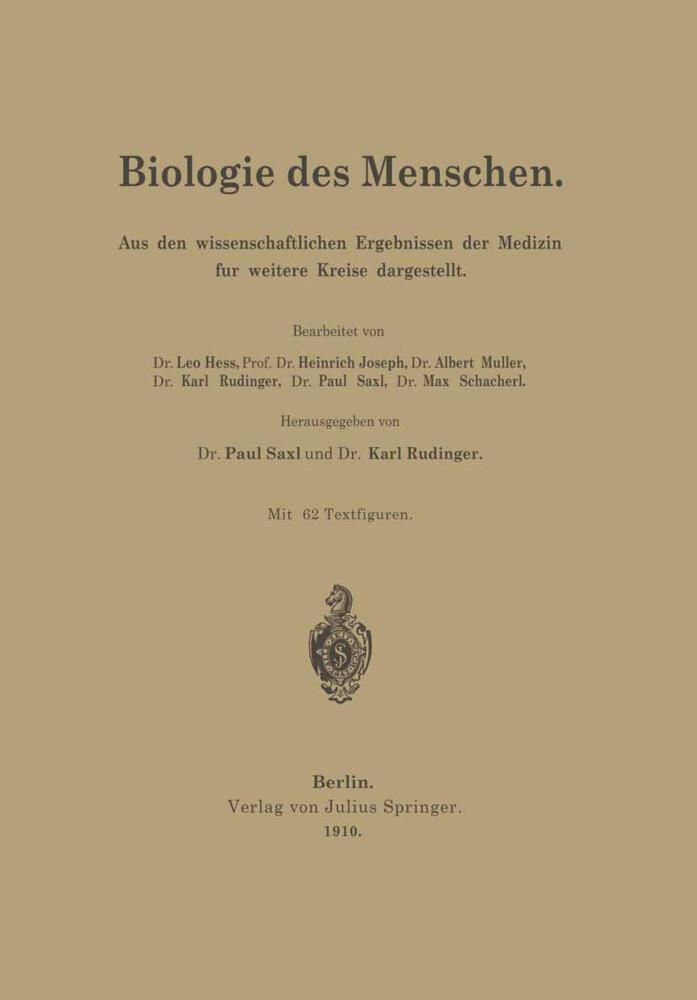 Biologie des Menschen als Buch von Leo Heß, Hei...