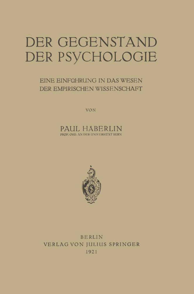 Der Gegenstand der Psychologie als Buch von Pau...