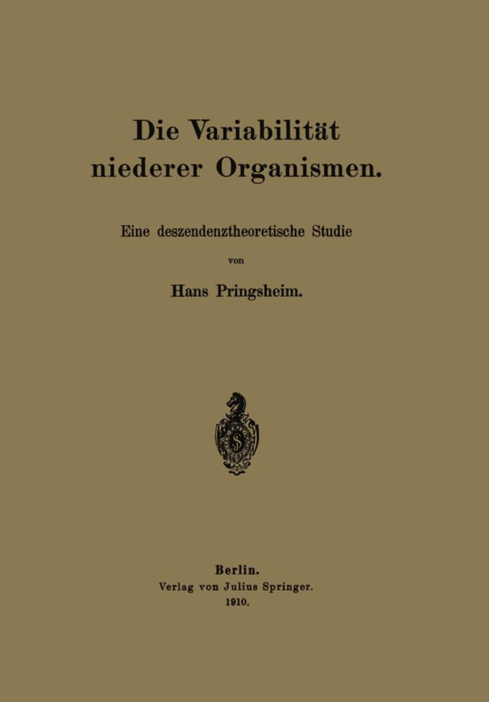Die Variabilität niederer Organismen als Buch v...
