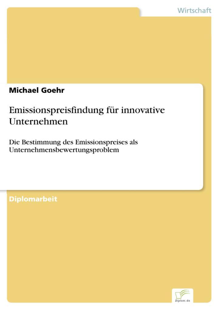 Emissionspreisfindung für innovative Unternehme...