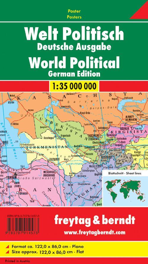 Welt politisch 1 : 35 000 000. Deutsche Ausgabe. Plano in Rolle als Buch