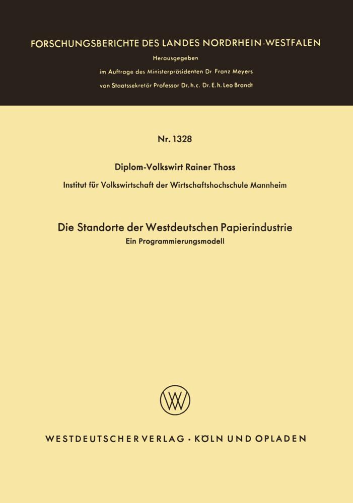 Die Standorte der westdeutschen Papierindustrie...
