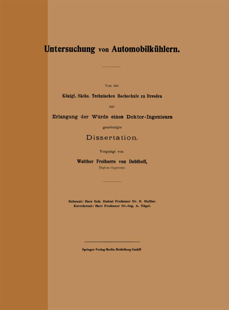 Untersuchung von Automobilkühlern als Buch von ...
