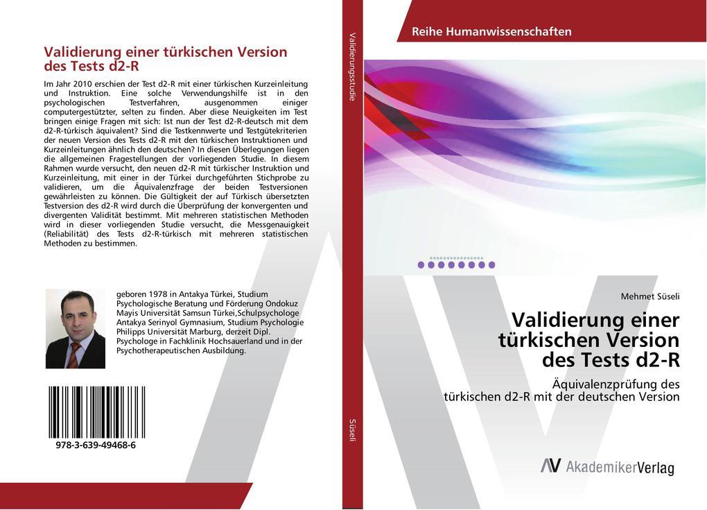 Validierung Einer Turkischen Version Des Tests D2 R Buch Kartoniert Mehmet Suseli