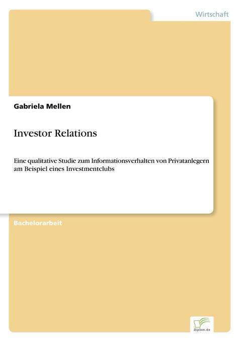 Investor Relations als Buch von Gabriela Mellen