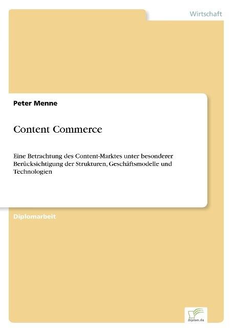 Content Commerce als Buch von Peter Menne