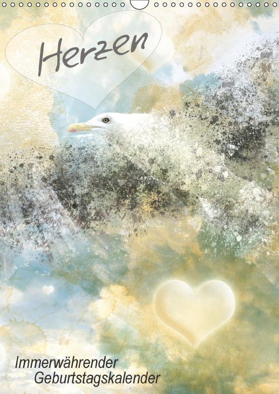 Herzen - Immerwährender Geburtstagskalender (Wandkalender immerwährend DIN A3 hoch) als Kalender