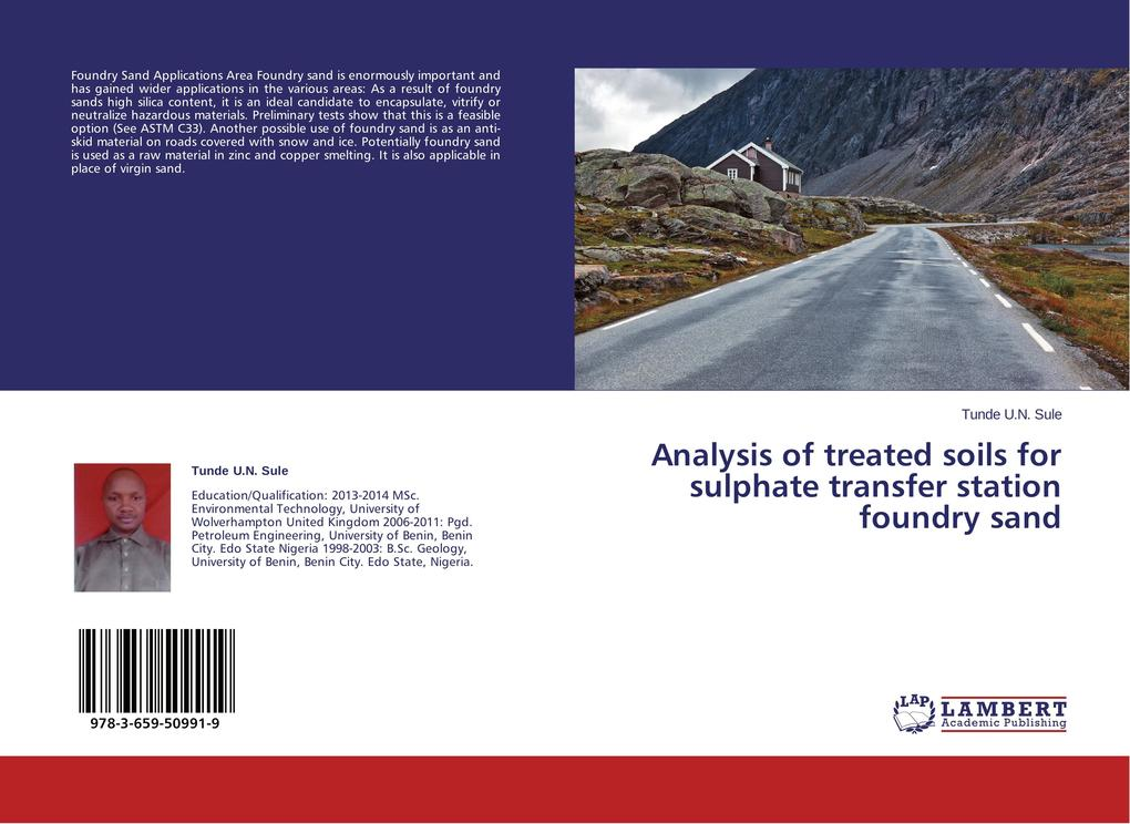 Analysis of treated soils for sulphate transfer station foundry sand als Buch (gebunden)