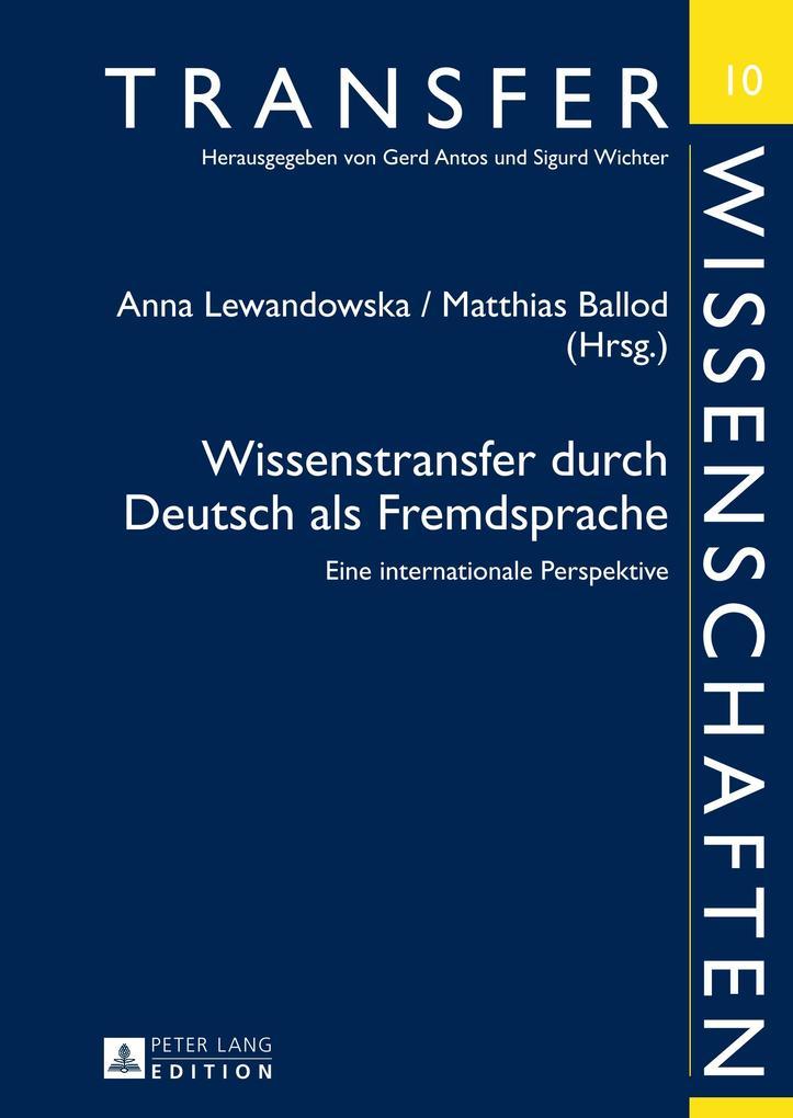 Wissenstransfer durch Deutsch als Fremdsprache ...