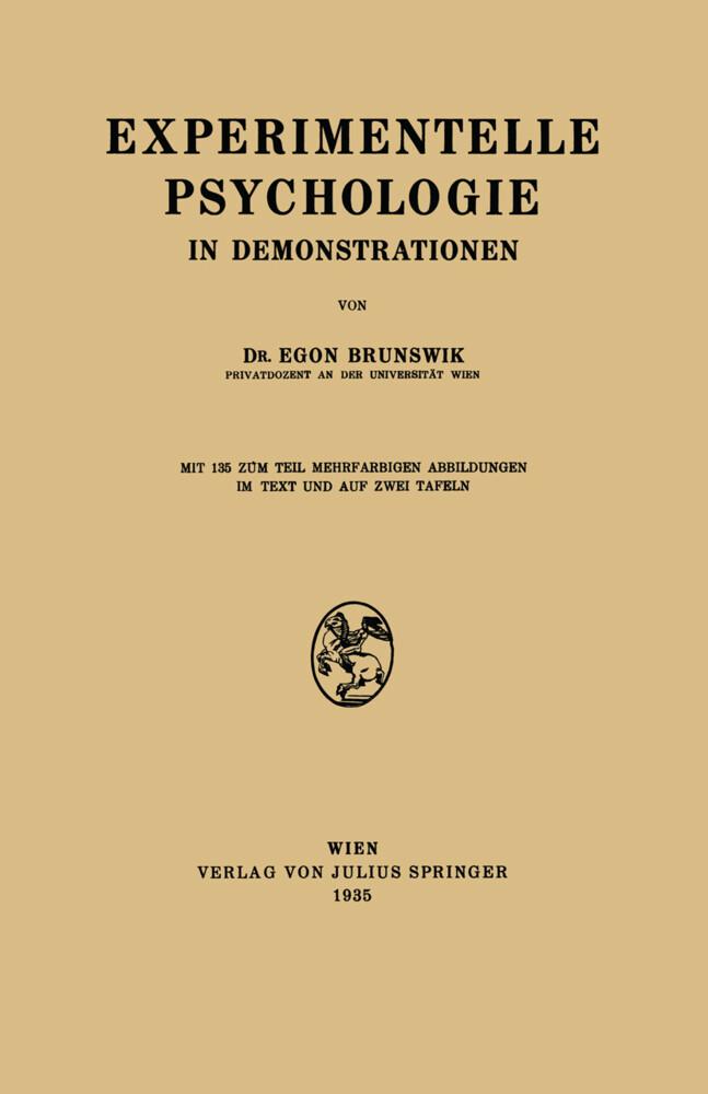 Experimentelle Psychologie in Demonstrationen a...