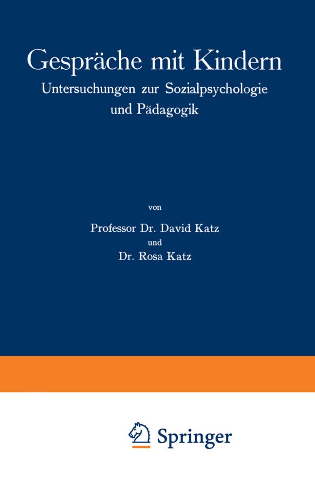 Gespräche mit Kindern als Buch von David Katz, ...