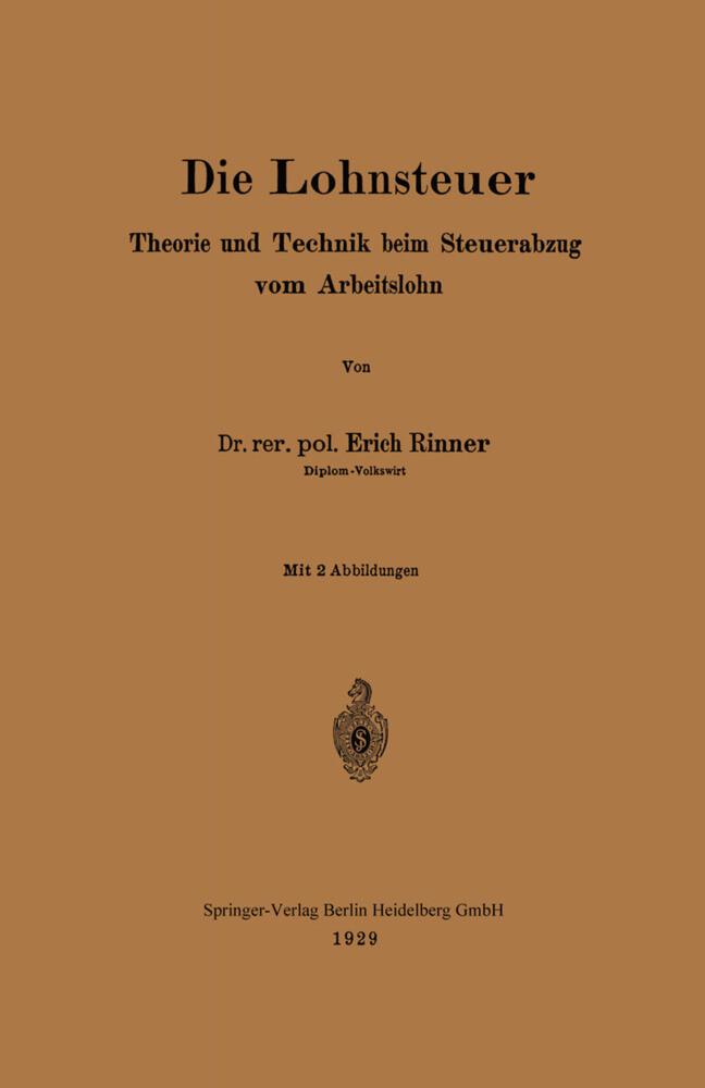 Die Lohnsteuer als Buch von Erich Rinner