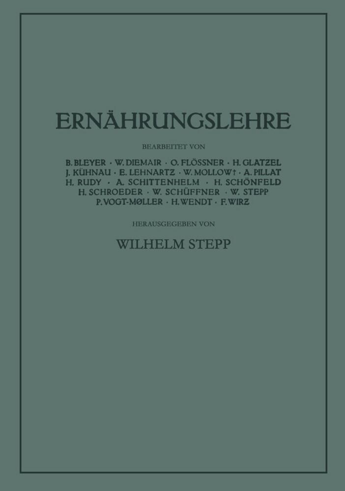 Ernährungslehre als Buch von Wilhelm Stepp