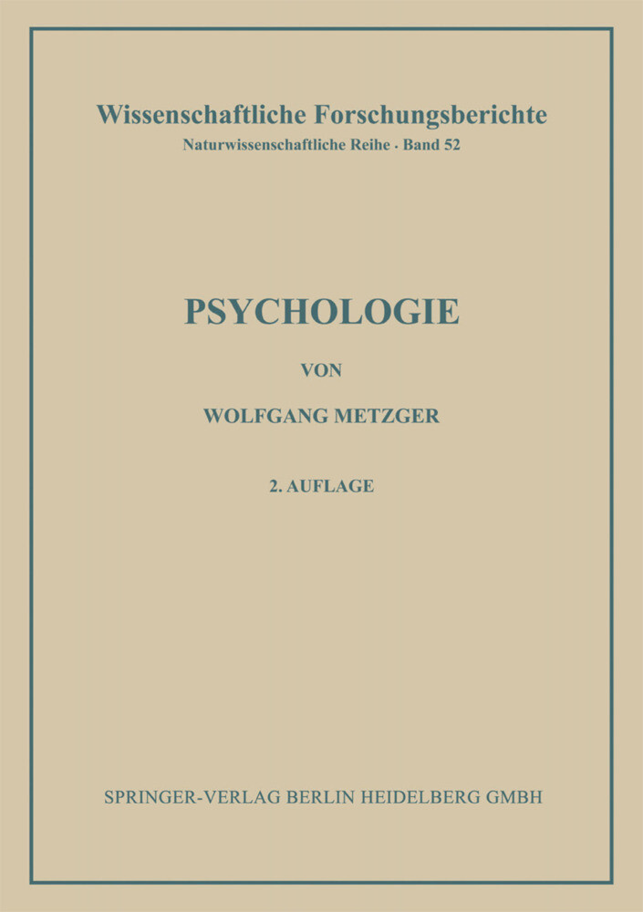 Psychologie als Buch von Wolfgang Metzger, Phil...