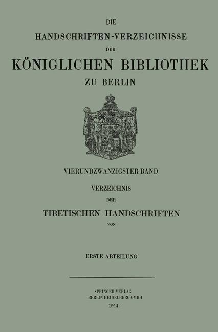Verzeichnis der Tibetischen Handschriften der K...