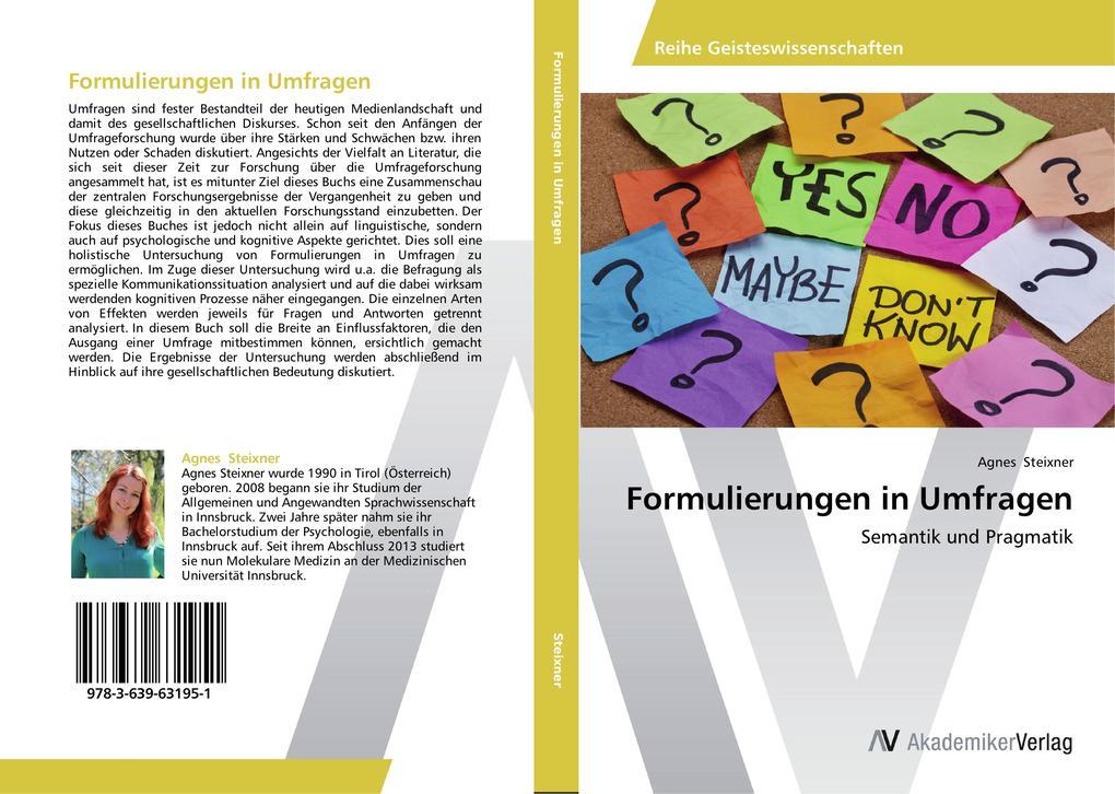 Formulierungen in Umfragen als Buch von Agnes S...