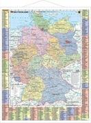 Deutschland politisch und Autokennzeichen - Wandkarte laminiert mit Metallbeleistung