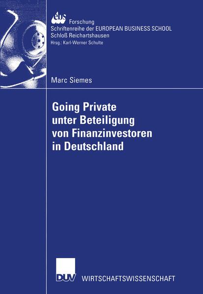 Going Private unter Beteiligung von Finanzinvestoren in Deutschland als Buch