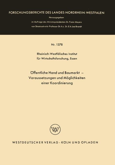 Öffentliche Hand und Baumarkt - Voraussetzungen...