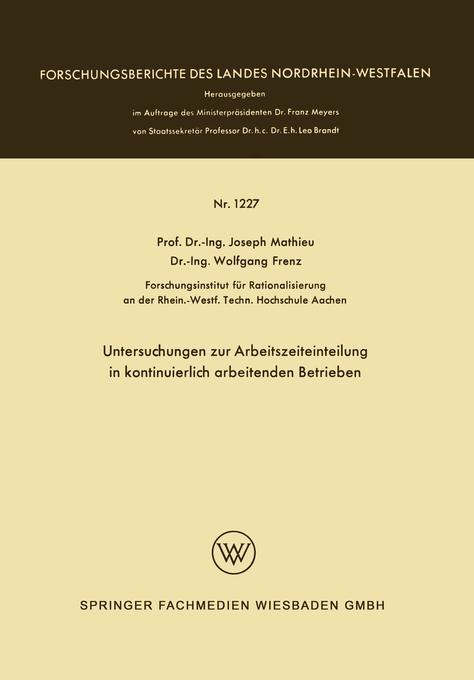 Untersuchungen zur Arbeitszeiteinteilung in kon...