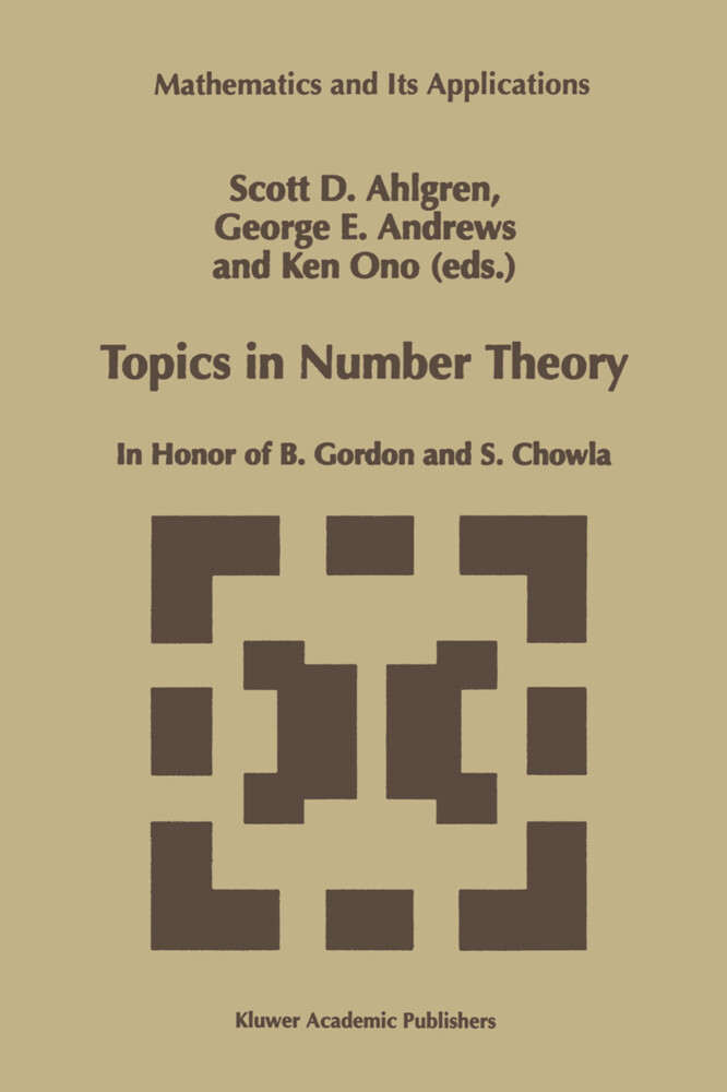 Topics in Number Theory: In Honor of B. Gordon and S. Chowla als Buch