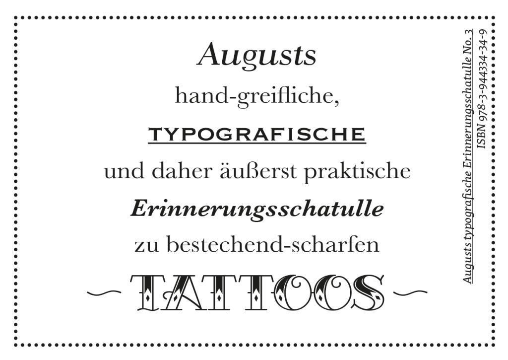 Augusts Erinnerungsschatulle Tattoos als Buch von