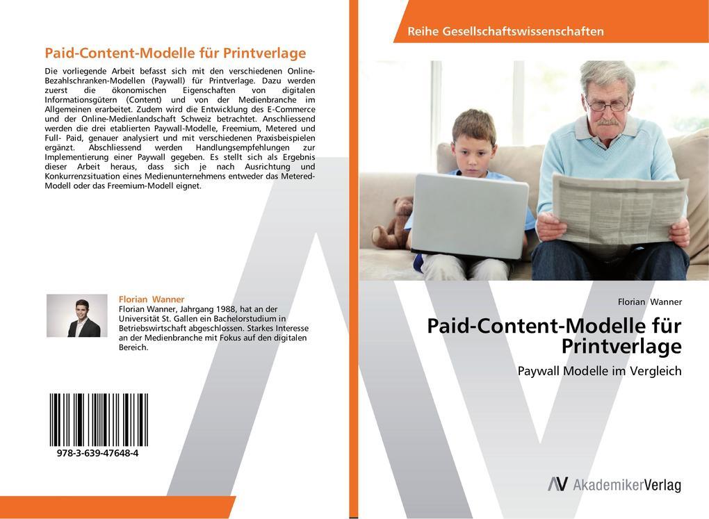Paid-Content-Modelle für Printverlage als Buch ...