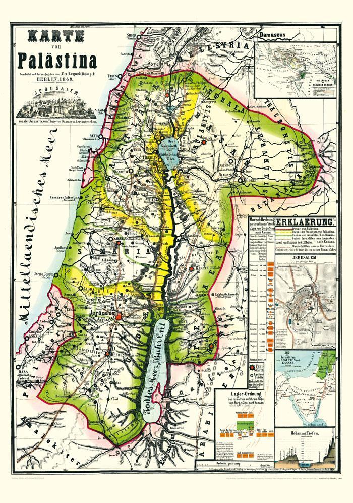 Historische Karte von PALÄSTINA 1869 (Plano) al...