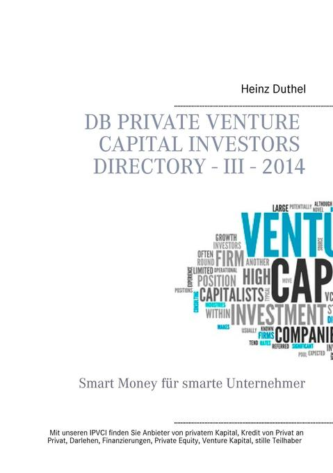 DB Private Venture Capital Investors Directory - III - 2014 als Buch