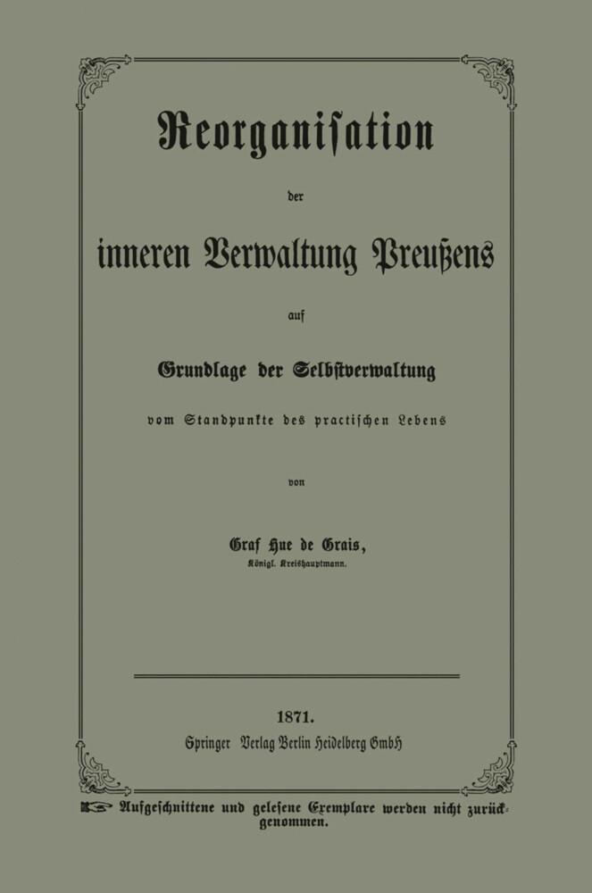 Reorganisation der inneren Verwaltung Preußens ...