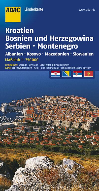 ADAC LänderKarte Kroatien, Bosnien-Herzegowina, Serbien und Montenegro 1 : 750 000 als Buch