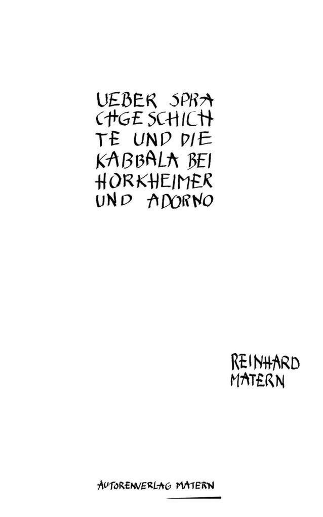 Über Sprachgeschichte und die Kabbala bei Horkheimer und Adorno als eBook