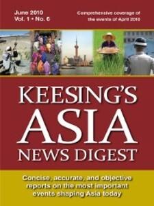 Keesing´s Asia News Digest, June 2010 als eBook...