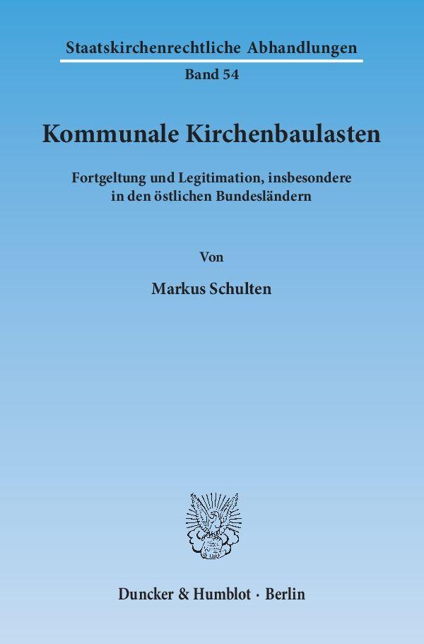 Kommunale Kirchenbaulasten als Buch von Markus ...