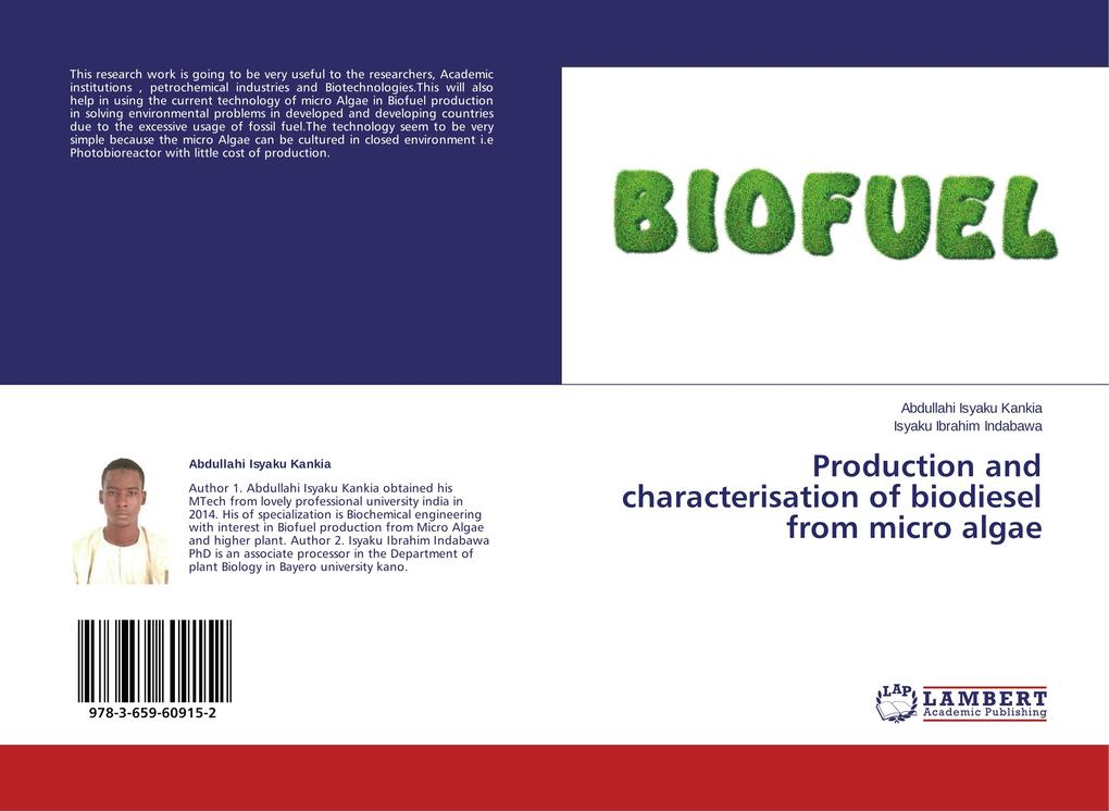 Production and characterisation of biodiesel from micro algae als Buch (gebunden)