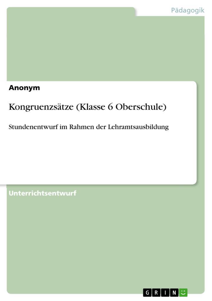 Kongruenzsätze (Klasse 6 Oberschule) als eBook epub