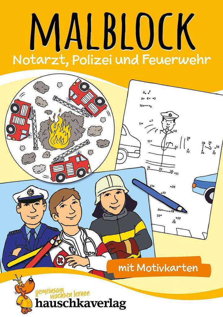 malblock  notarzt polizei und feuerwehr buch kartoniert