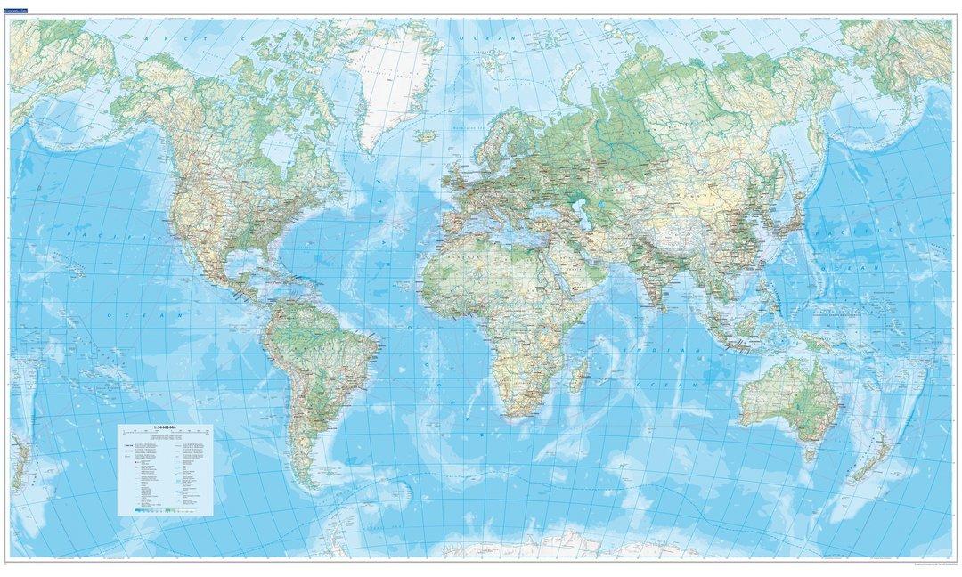KuF Die Welt, physische Karte 1 : 30 000 000, plano als Buch