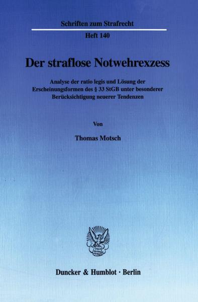 Der straflose Notwehrexzess. als Buch (kartoniert)