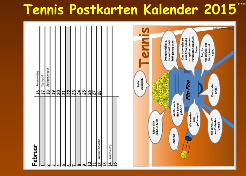 Immerwährender TENNIS Postkarten KALENDER (kart...