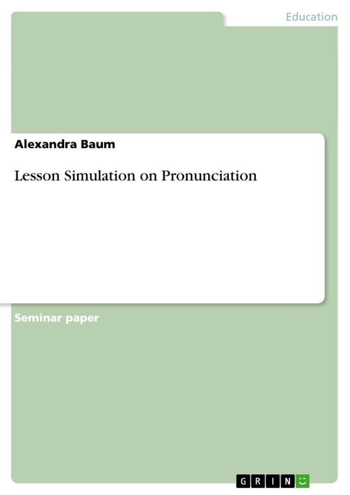 Lesson Simulation on Pronunciation als Buch von...