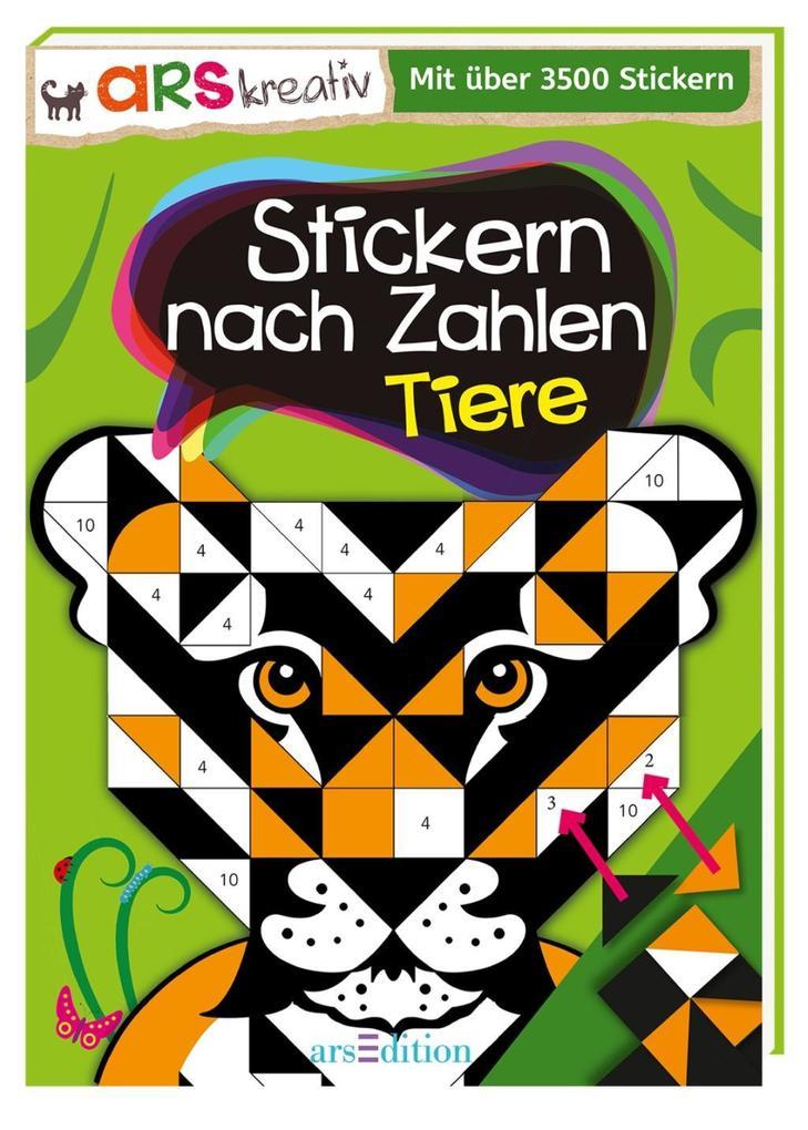 Stickern nach Zahlen Tiere als Buch von