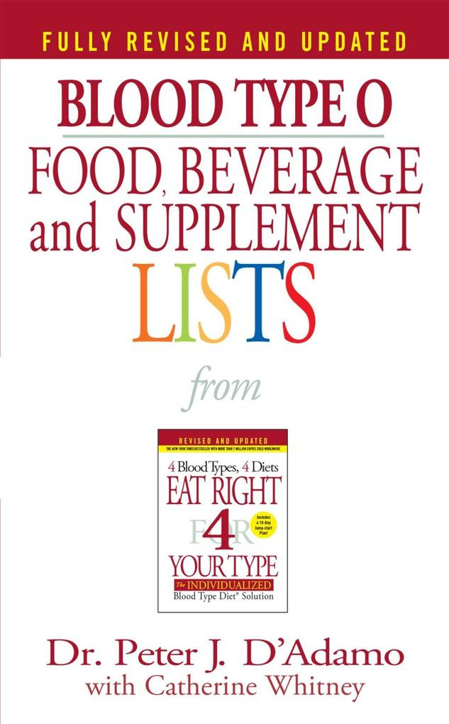 Blood Type O Food, Beverage and Supplement List...