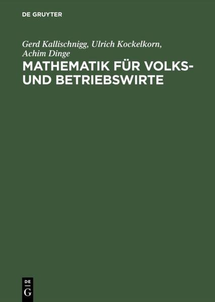 Mathematik für Volks- und Betriebswirte als Buch